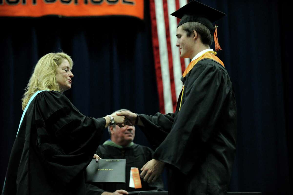 Ridgefield High School holds its graduation ceremony Friday, June 21, 2013, at the O'Neill Center at Western Connecticut State University in Danbury, Conn.