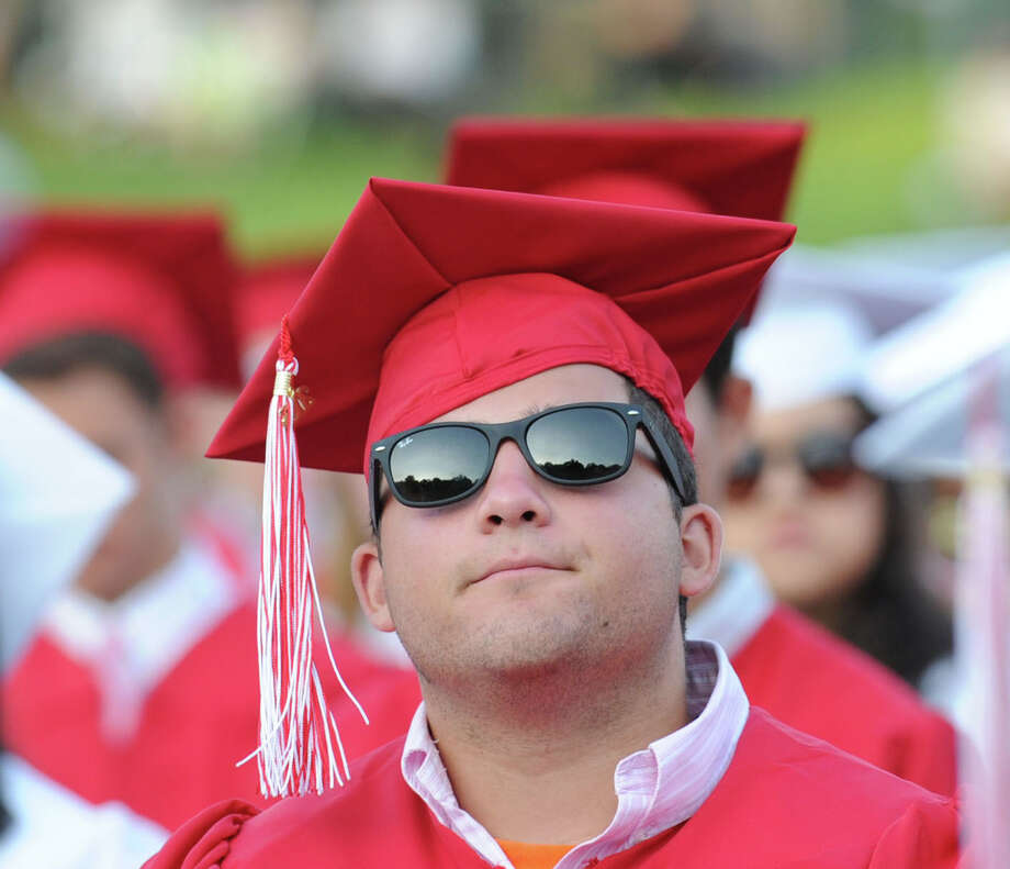 Graduating senior Michelangelo Federici during the Greenwich High School graduation ceremony at Cardinal Stadium, Friday evening, June 21, 2013. Photo: Bob Luckey / Greenwich Time