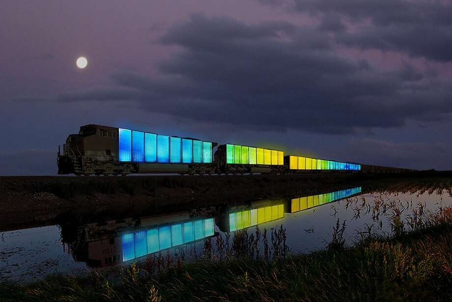 "Doug Aitken's rendering of the train traveling across the country as part of his interactive art project ""Station to Station: A Nomadic Happening,"" which comes to the Bay Area on Sept. 28. Photo: Courtesy Doug Aitken."