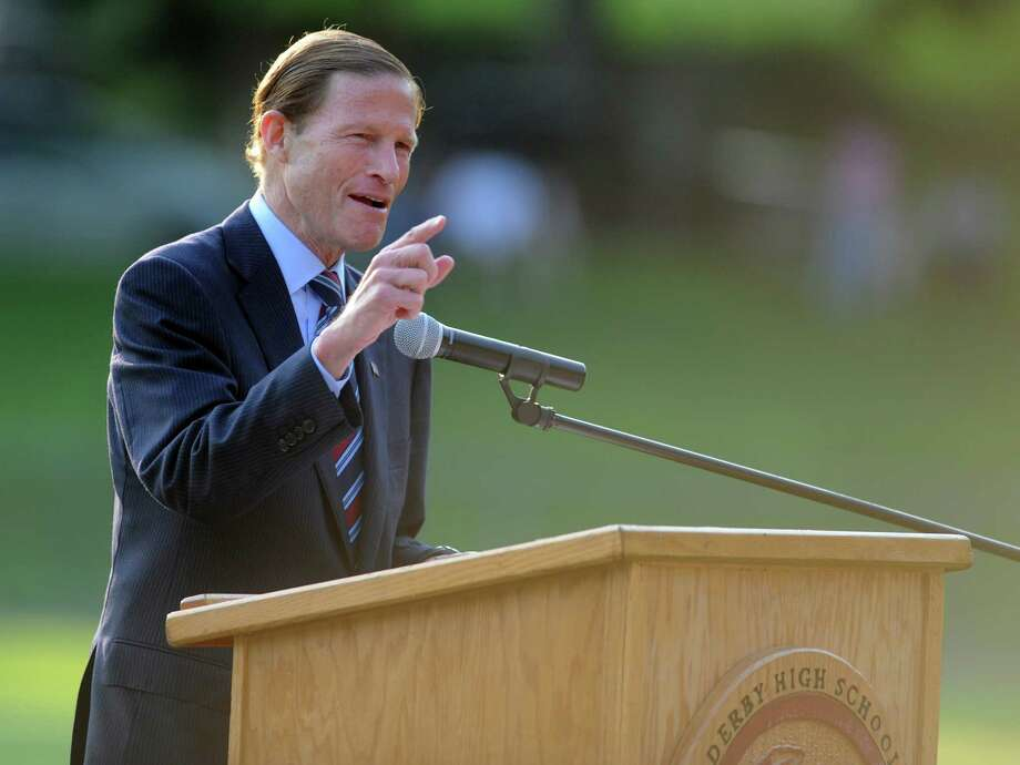 Senator Richard Blumenthal speaks during the Derby High School commencement ceremony Friday, June 21, 2013 on the football field. Photo: Autumn Driscoll / Connecticut Post