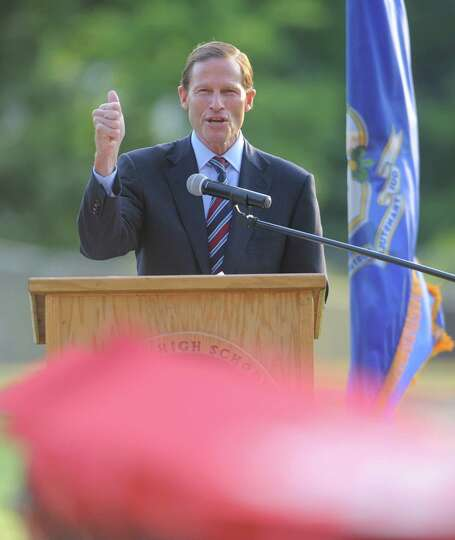 Senator Richard Blumenthal speaks during the Derby High School commencement ceremony Friday, June 21