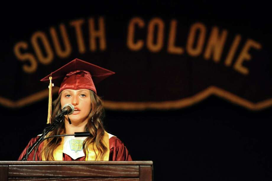 Senior class president Stephanie Sickles address fellow graduates during the South Colonie High commencement exercises on Friday, June 21, 2013, at the Convention Center in Albany, N.Y. (Cindy Schultz / Times Union) Photo: Cindy Schultz / 10022844A