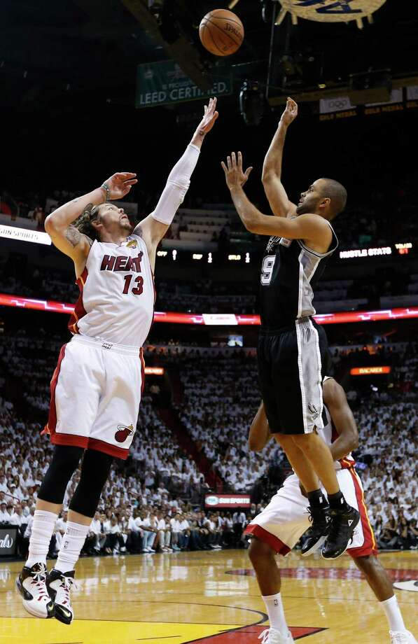 San Antonio Spurs' Tony Parker shoots over Miami Heat's Mike Miller during the first half of Game 7 of the 2013 NBA Finals Thursday, June 20, 2013 at American Airlines Arena in Miami. (Edward A. Ornelas/San Antonio Express-News) Photo: San Antonio Express-News / © 2013 San Antonio Express-News