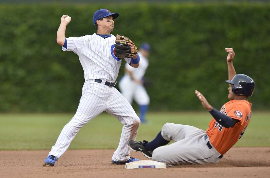 June 21: Cubs 3, Astros 1Darwin Barney turns a double play on a ground ball hit by Matt Dominguez.