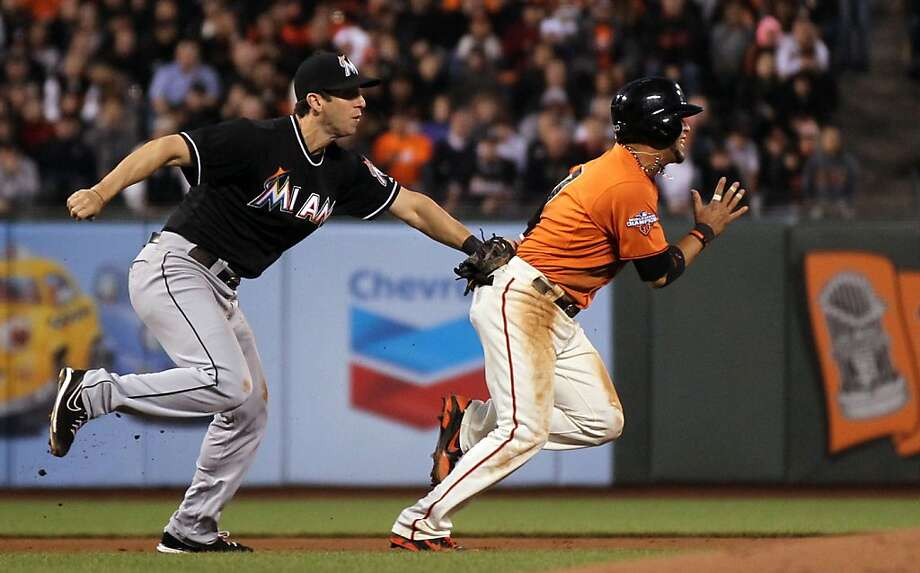 Gregor Blanco is caught in a rundown by Marlins third baseman Ed Lucas for the Giants' second out of the fifth inning. Photo: Lance Iversen, The Chronicle