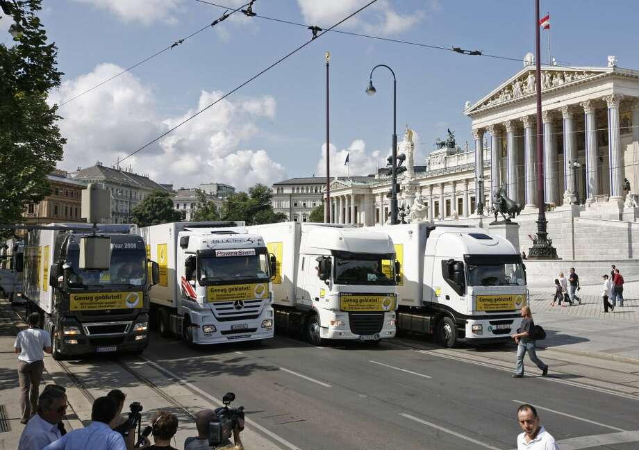 No. 23 -- Austria, $7.09/gallon  Austrians buy less gas and pay less for it than the European average.  [Photo: Austrian truck drivers block the road during a protest in front of the Austrian parliament in 2008 in Vienna. Up to 1400 truck drivers protest in and around Vienna against the high fuel prices, taxes and road tolls.] Photo: DIETER NAGL, AFP/Getty Images