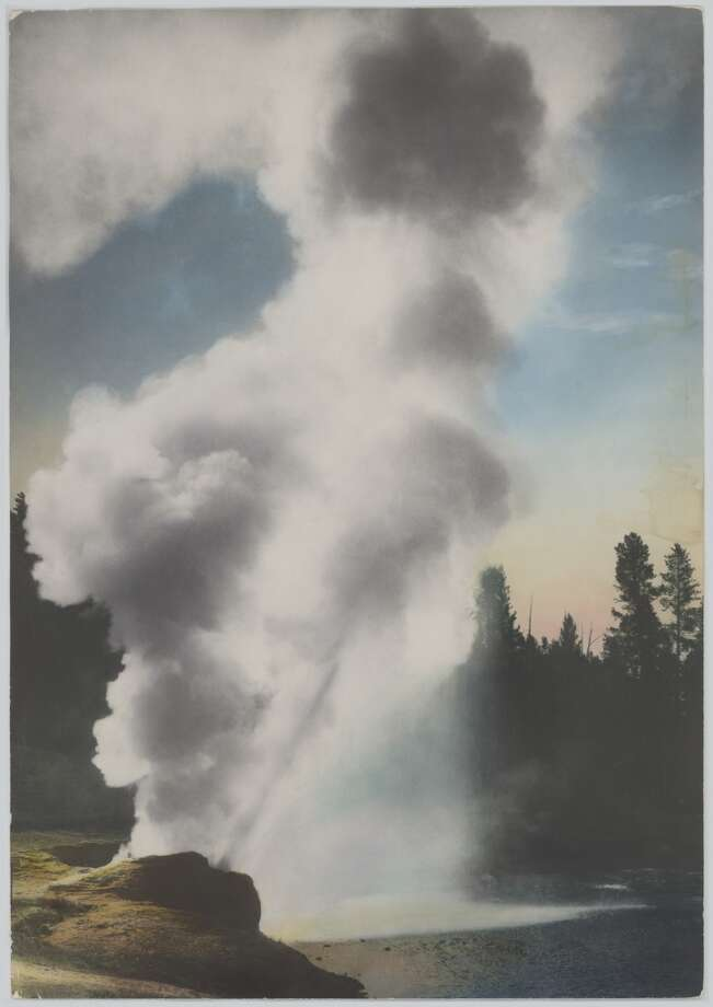 F. Jay Haynes' undated, hand-tinted photo of Yellowstone National Park's Riverside Geyser is typical of mementos from the original Haynes Photo Shop, the first such concession in the world's first national park  (founded in 1872).