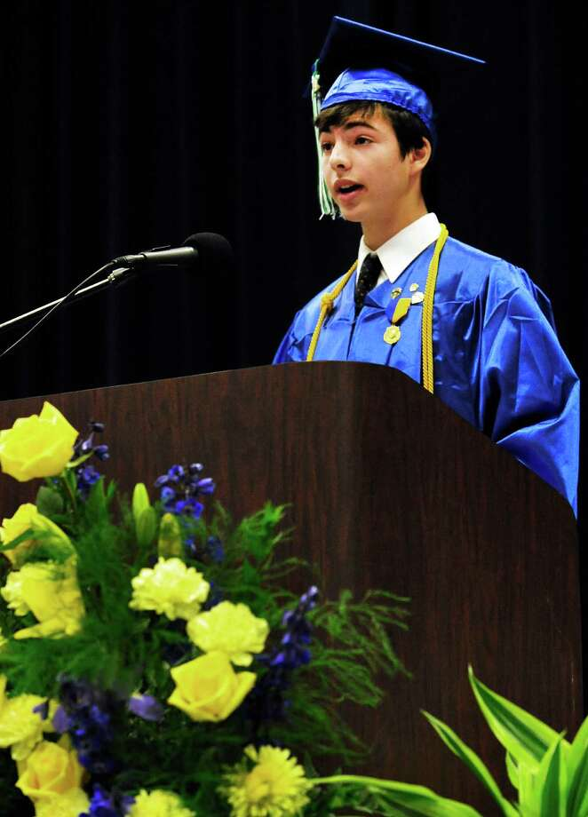 Valedictorian Joseph Kohrman-Glazer speaks, as Newtown High School Class of 2013 graduation exercises take place at the O'Neill Center, on the campus of Western Connecticut State University, in Danbury, Conn. Saturday, June 22, 2013. Photo: Michael Duffy / The News-Times