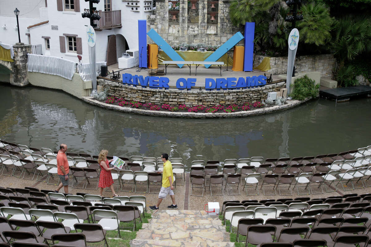 The Arneson Theatre is prepared for for tonight's Texas Cavaliers River Parade April 19, 2010. The event will feature King Antonio and El Ray Feo on barges among many other attractions on the River Walk.