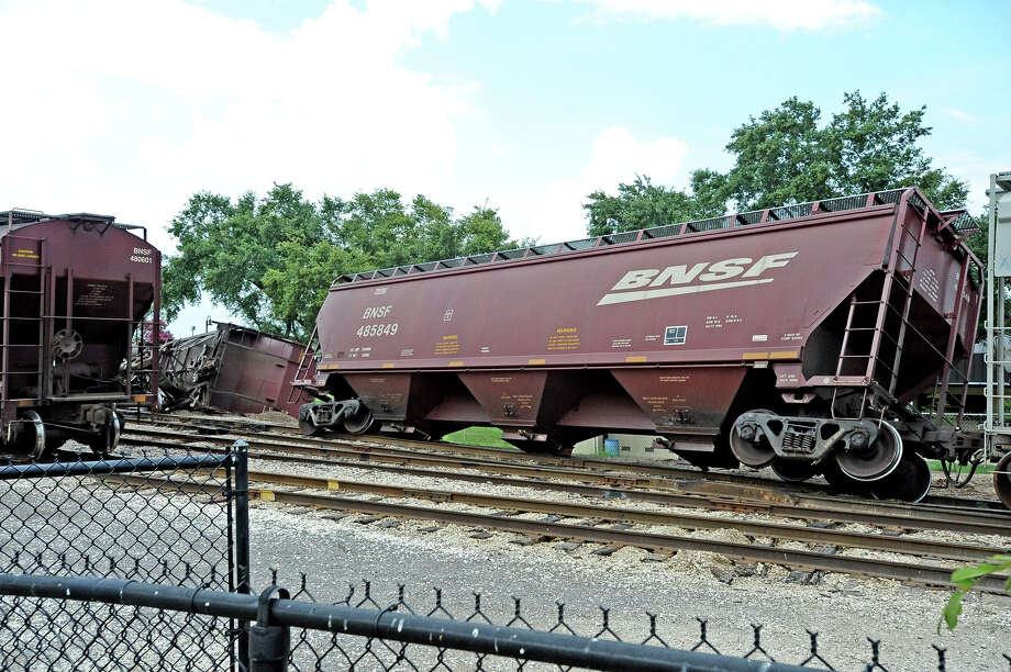 A rail car overturned at Riverfront Park on Saturday, June 22, 2013. Photo taken: Randy Edwards/The Enterprise