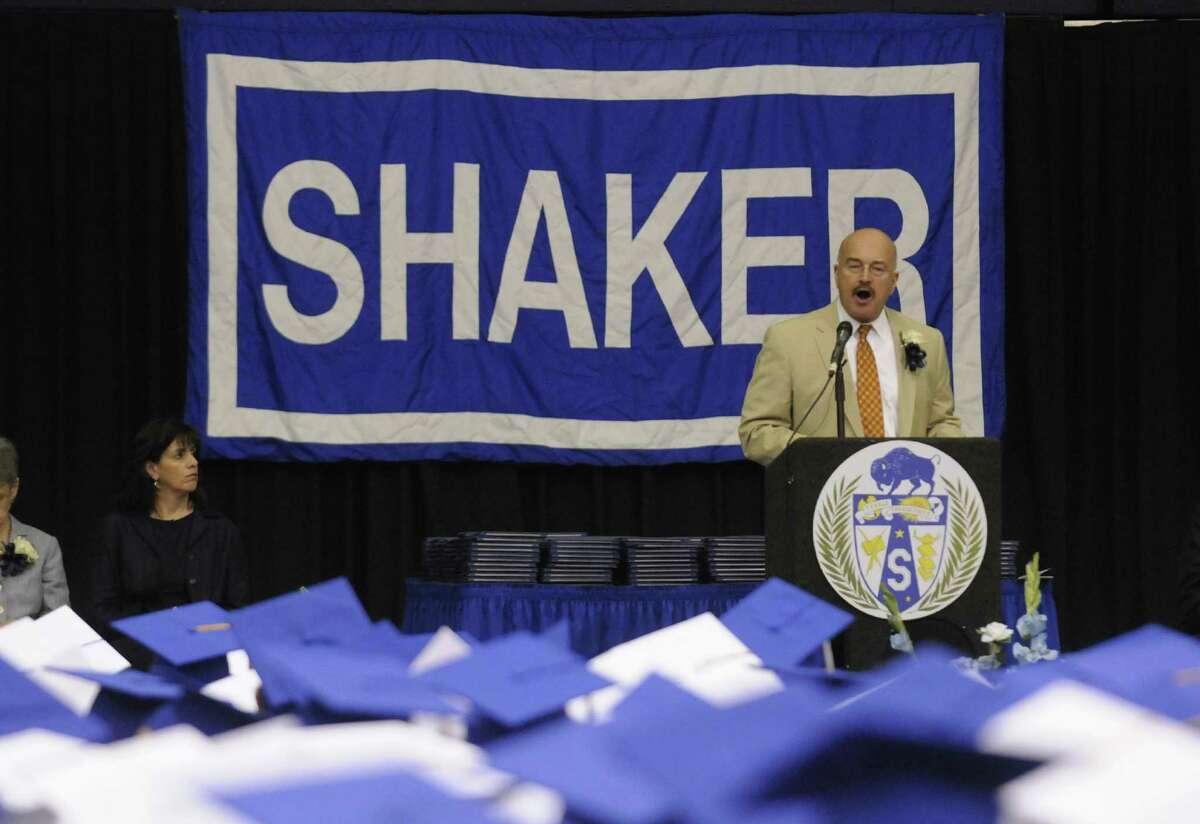 D. Joseph Corr superintendent of the North Colonie School District speaks during Shaker High Schools graduation commencement at the SEFCU Arena on Saturday June 22, 2013 in Albany, N.Y. (Michael P. Farrell/Times Union)
