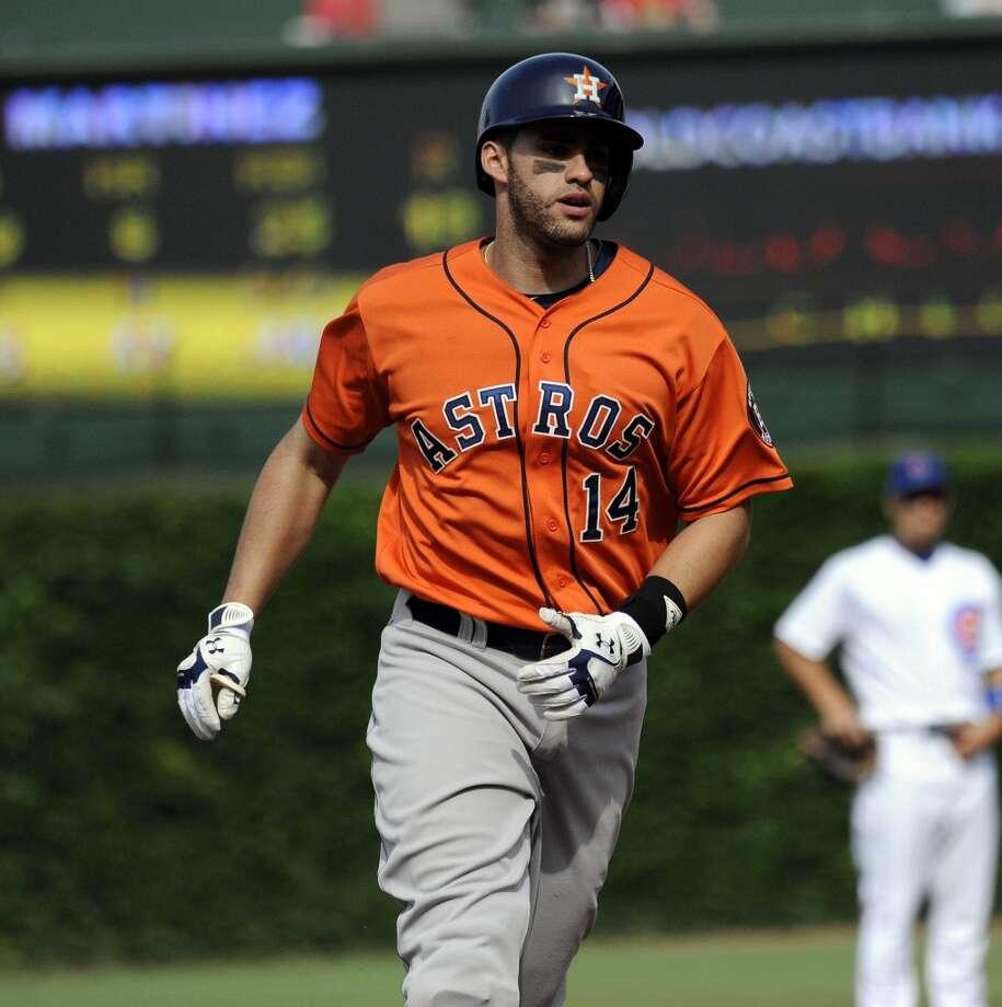 J.D. Martinez rounds second after hitting a three-run homer.