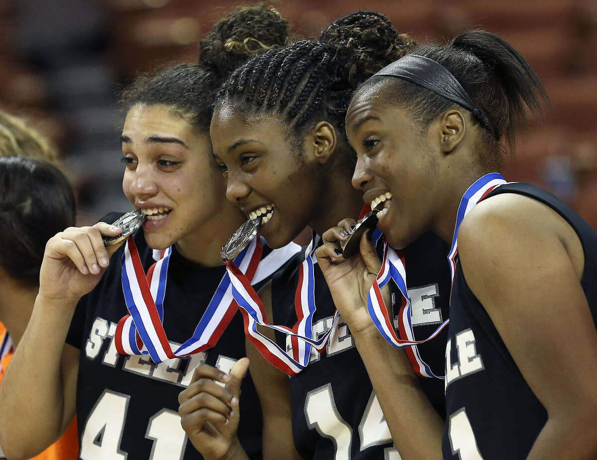 Brianna Millet (from left), McKenzie Calvert and Erika Chapman helped lead Steele to the state tournament.