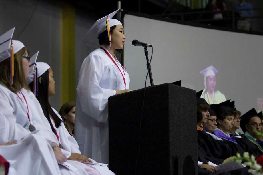 Hannah Liu delivers the graduating address to her fellow students during the Guilderland High School commencement ceremony held at the SEFCU Arena at University at Albany on Saturday June 22, 2013 in Albany, N.Y. (Dan Little/Special to the Times Union) Photo: Dan Little / ©2013 Dan Little