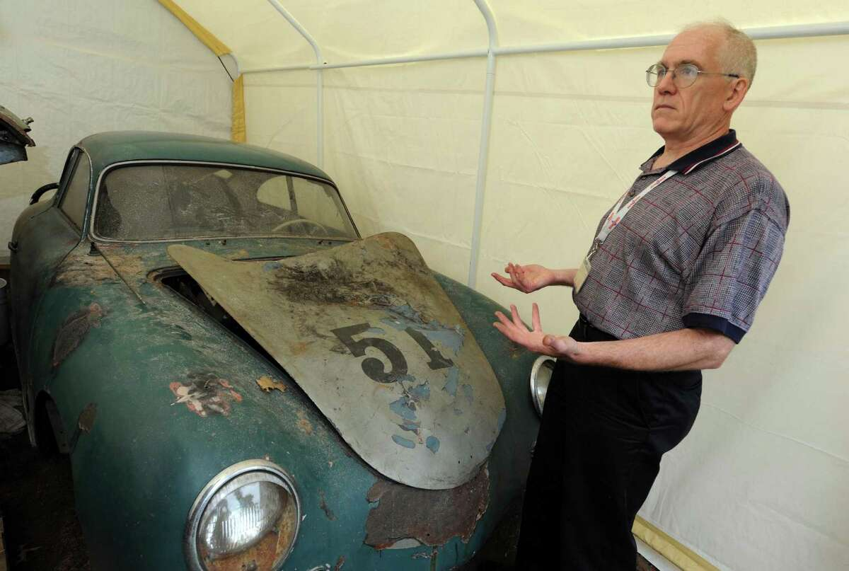 Kevin Cleary with a 1956 Porshe that he sold to Boston-area buyer. Cleary was featured in a June Advocate column because he had been unable to establish proof of ownership for the car. (Michael P. Farrell/Times Union)