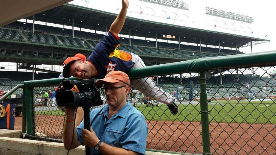 Astros second baseman Jose Altuve goofs around before playing the Cubs.
