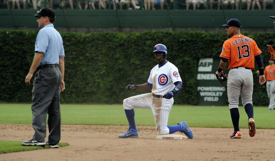 Alfonso Soriano reacts after being tagged out at second by Ronny Cedeno.