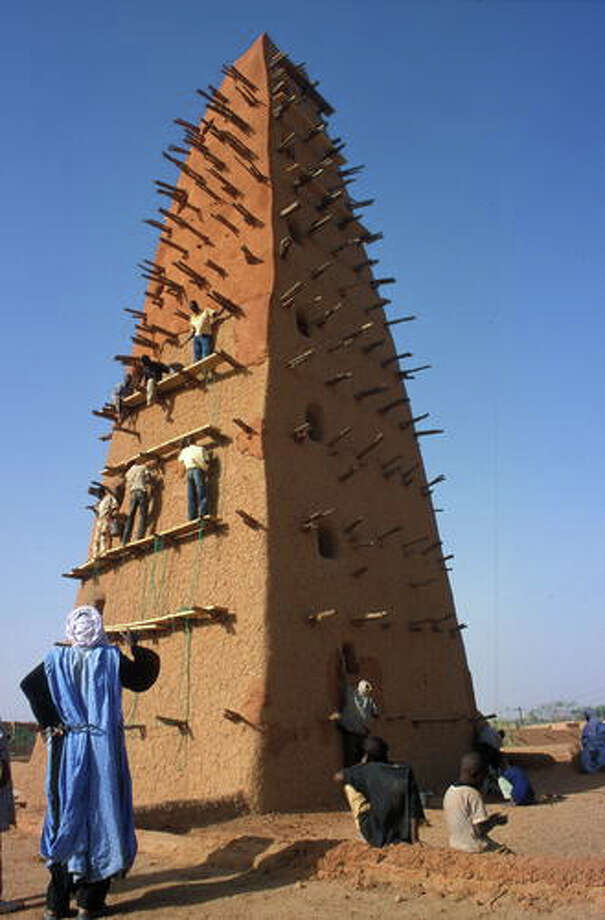 The historic center of Agadez, Niger,  includes an 88.5-foot-high  minaret made entirely of mud brick, the highest such structure in the world, according to UNESCO.