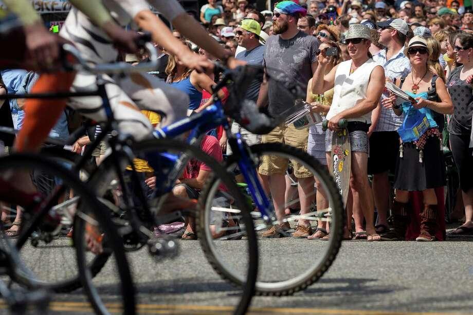 Naked bicyclists take to the streets. Photo: JORDAN STEAD, SEATTLEPI.COM / SEATTLEPI.COM