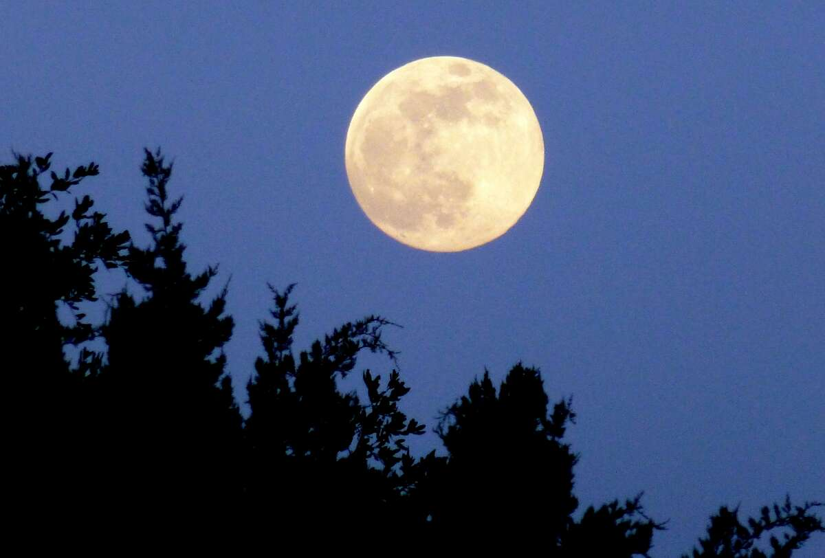 The Supermoon is seen in Bulverde, about 35 minutes after moonrise on June 22, 2013.