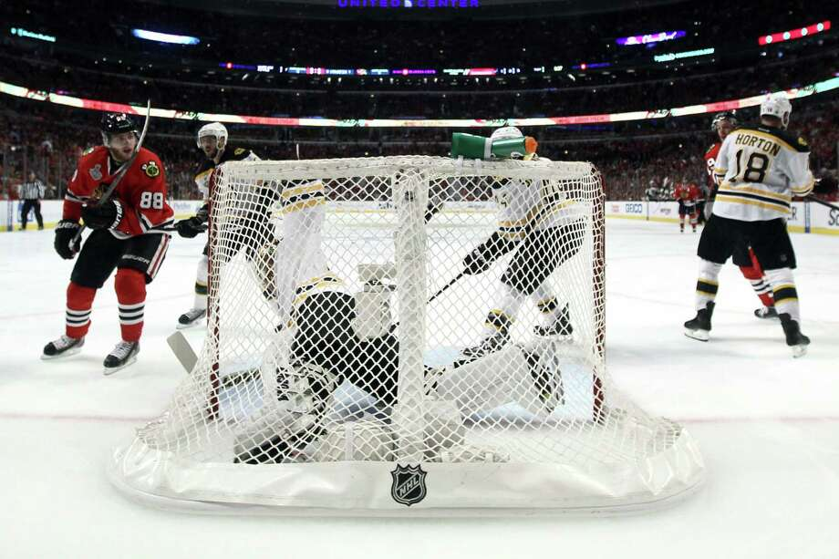 CHICAGO, IL - JUNE 22:  Patrick Kane #88 of the Chicago Blackhawks scores a goal in the second period against Tuukka Rask #40 of the Boston Bruins in Game Five of the 2013 NHL Stanley Cup Final at United Center on June 22, 2013 in Chicago, Illinois. Photo: Bruce Bennett, Getty Images / 2013 Getty Images