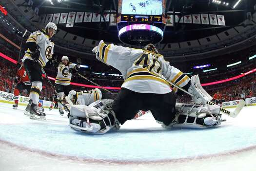 CHICAGO, IL - JUNE 22:  Tuukka Rask #40 of the Boston Bruins tends goal against the Chicago Blackhawks in Game Five of the 2013 NHL Stanley Cup Final at United Center on June 22, 2013 in Chicago, Illinois. Photo: Bruce Bennett, Getty Images / 2013 Getty Images