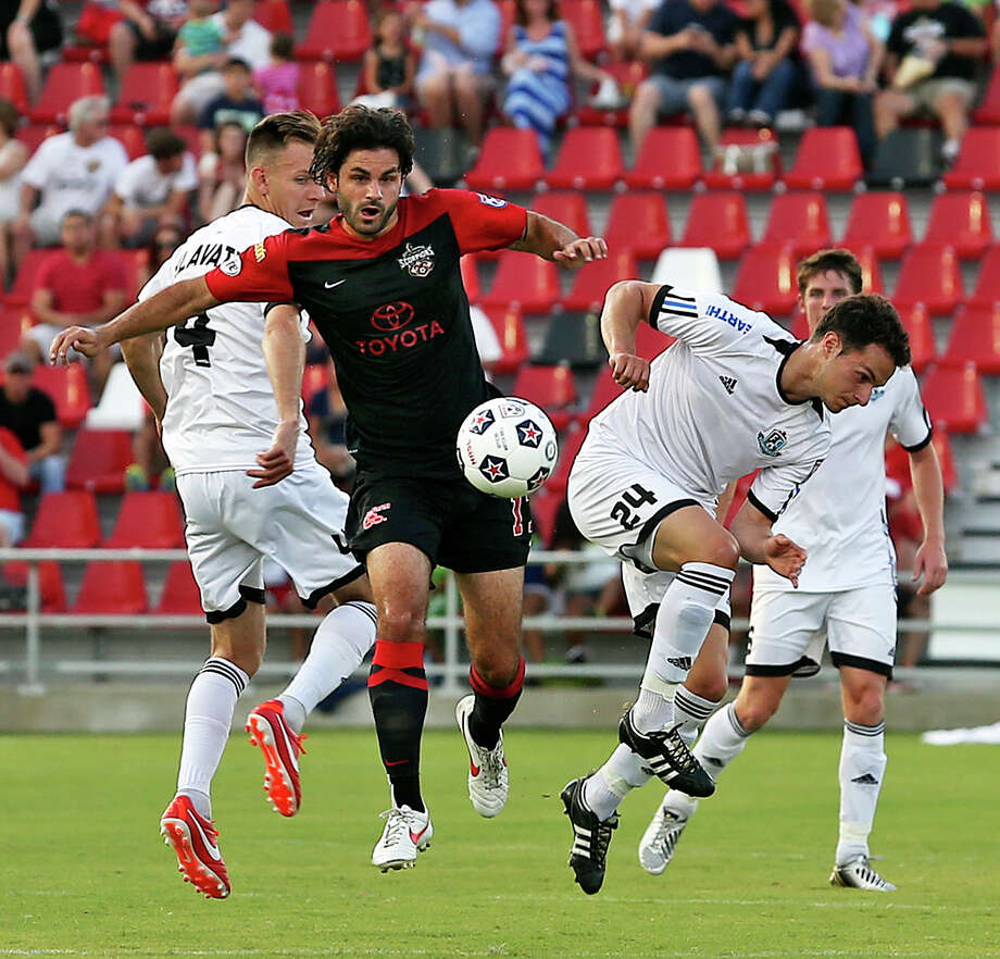 Blake Wagner breaks away to start a play as the San Antonio Scorpions host FC Edmonton on June 22, 2013. Photo: TOM REEL