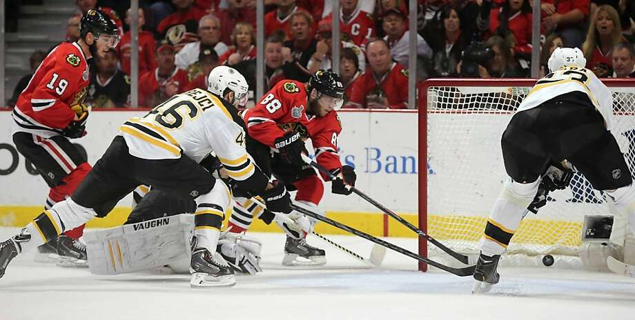 The Chicago Blackhawks' Patrick Kane (88) scores past Boston Bruins goalie Tuukka Rask in the first period of Game 5 of the NHL Finals on Saturday, June 22, 2013, at the United Center in Chicago, Illinois. (Brian Cassella/Chicago Tribune/MCT) Photo: Brian Cassella, McClatchy-Tribune News Service
