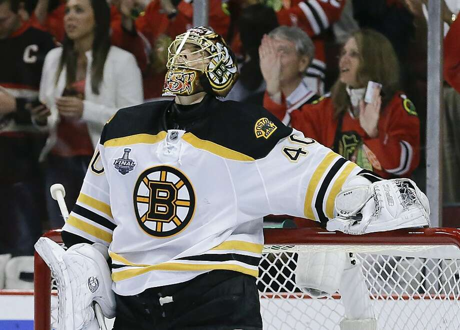 Boston Bruins goalie Tuukka Rask (40) reacts after a second period Chicago Blackhawk goal during Game 5 of the NHL hockey Stanley Cup Finals, Saturday, June 22, 2013, in Chicago. (AP Photo/Nam Y. Huh) Photo: Nam Y. Huh, Associated Press