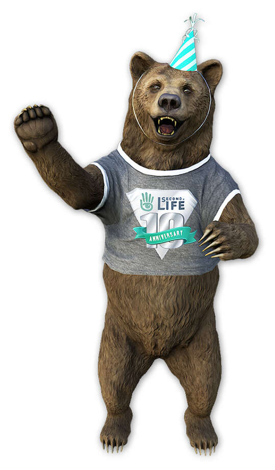 Second Life released this bear avatar to celebrate Sunday's 10th anniversary. Photo: Linden Lab