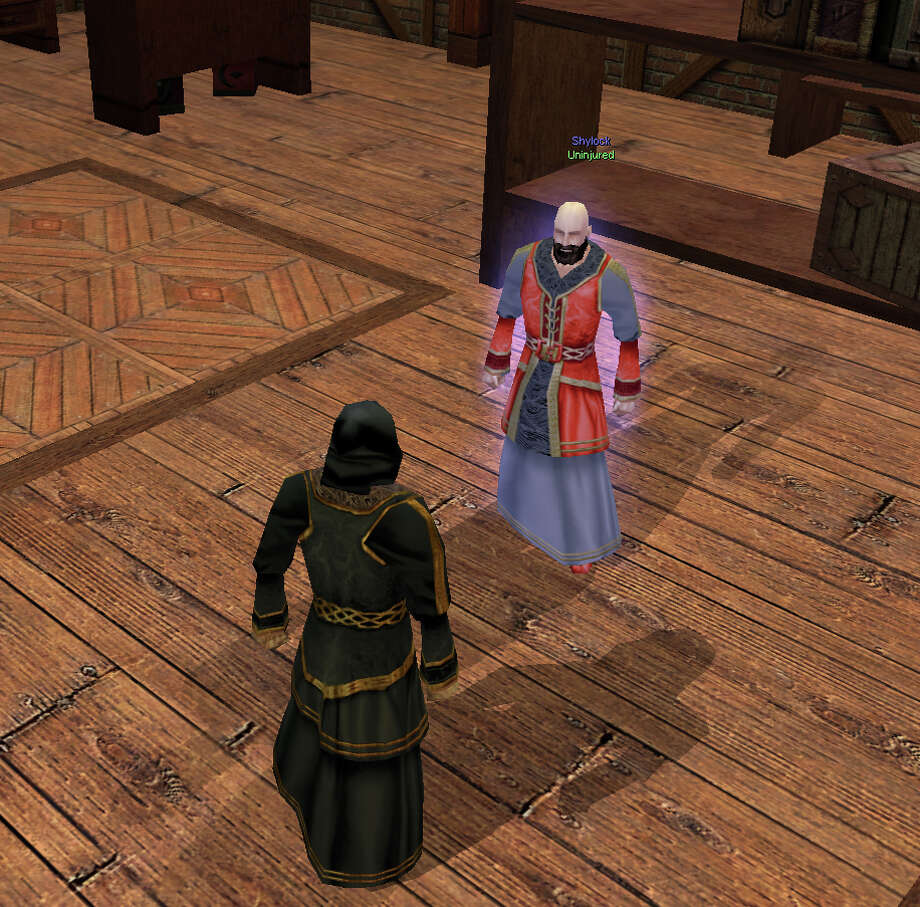 This photo, which ran on Sept. 5, 2007, provided by shows Shylock, the Merchant of Venice, dealing with a customer in the online game Arden: The World of William Shakespeare. The game is designed to be a virtual sandbox for economic and social experiments. (AP Photo/Arden)  Zee Linden is the Second Life persona of John Zdanowski of Linden Lab, who is sort of like the Fed chairman of the virtual world. Photo: Arden, AP / ARDEN