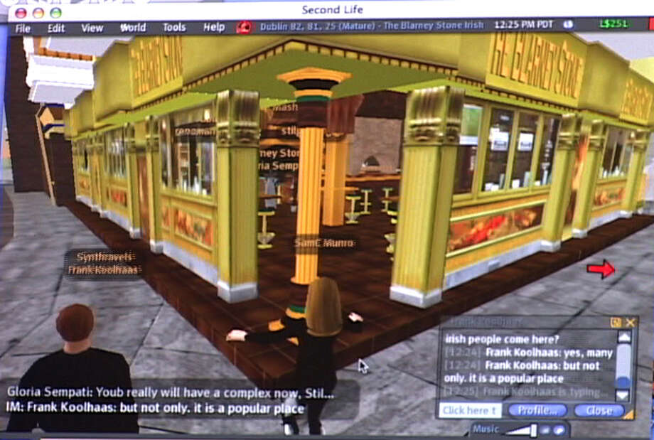 "In this video image of a computer screen in New York taken on Monday, April 7, 2007, during the author's tour of virtual world ""Second Life,"" her avatar, center, is about to enter The Blarney Stone pub with a tour guide, left, in virtual Dublin. With the help of elaborate locales designed and built by ""Second Life"" residents, tourists can watch their online embodiments - known as their avatars - interact with other users, lounge at the beach, dine at a romantic restaurant, or go out dancing at a crowded nightclub. (AP Photo)  Ran on: 05-14-2007  The article writer's avatar prepares to enter a dance club in virtual Ibiza during a tour of Second Life. Photo: AP / AP"
