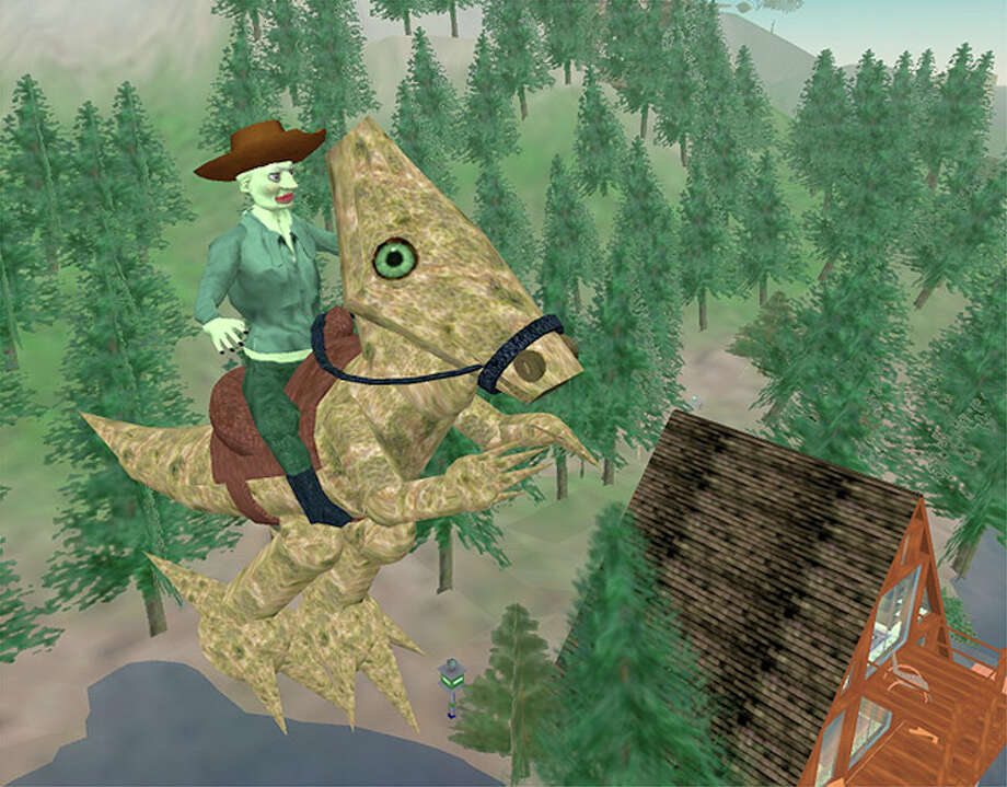 Rick Ellis, of Mill Valley, who goes by the name Sinatra Cartier in Second Life, sometimes takes on the persona of a troll that flies around on a T-Rex-like dinosaur that he created. Ran on: 09-12-2006 Photo: HANDOUT, SFC