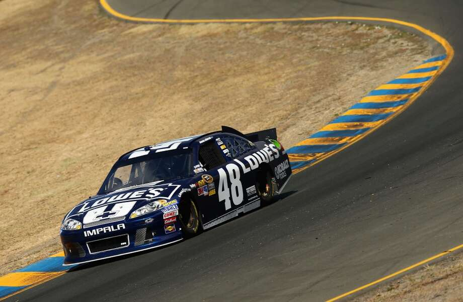 SONOMA, CA - JUNE 23:  Jimmie Johnson drives the #48 Lowe's Chevrolet during practice for the NASCAR Sprint Cup Series Toyota/Save Mart 350 at Sonoma on June 23, 2012 in Sonoma, California.  (Photo by Ezra Shaw/Getty Images)