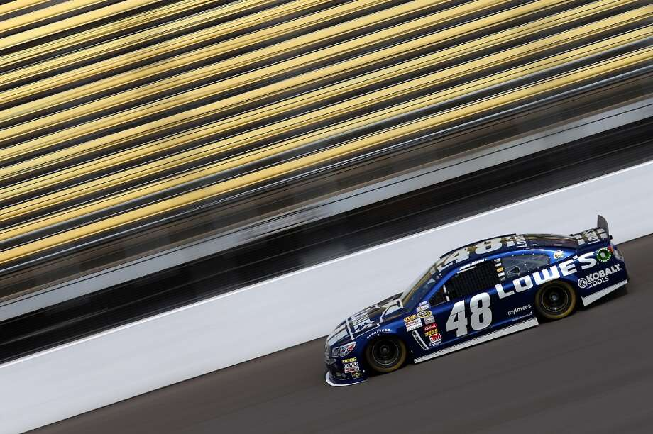 BROOKLYN, MI - JUNE 15:  Jimmie Johnson, driver of the #48 Lowe's Chevrolet, practices for the NASCAR Sprint Cup Series Quicken Loans 400 at Michigan International Speedway on June 15, 2013 in Brooklyn, Michigan.  (Photo by Todd Warshaw/Getty Images)