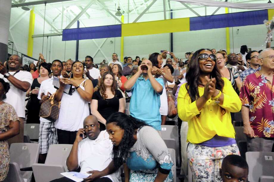 Family Members and friends watch students arrive during the Albany High School commencement exercises inside the SEFCU Arena on the University at Albany campus Albany, N.Y., Sunday, June 23, 2013. (Hans Pennink / Special to the Times Union) Photo: Hans Pennink / Hans Pennink