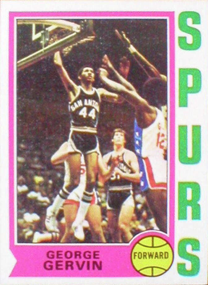 George Gervin 1974-75 Topps rookie card. Gervin was inducted into the Naismith Memorial Basketball Hall of Fame in 1996.