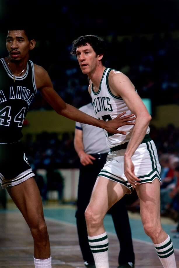 George Gervin 44 of the Spurs defends against John Havlicek 17 of the Boston Celtics during a game played in 1978 at the Boston Garden.