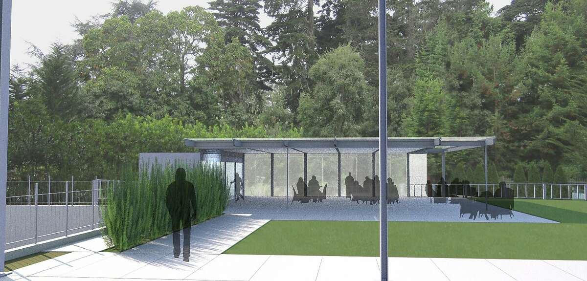 The 1,450-square-foot dining pavilion designed for the California Academy of Sciences by local architect Mark Cavagnero would be in the Academy's west courtyard. It is proposed to be one-third the height of the edge of the roof of the main building.