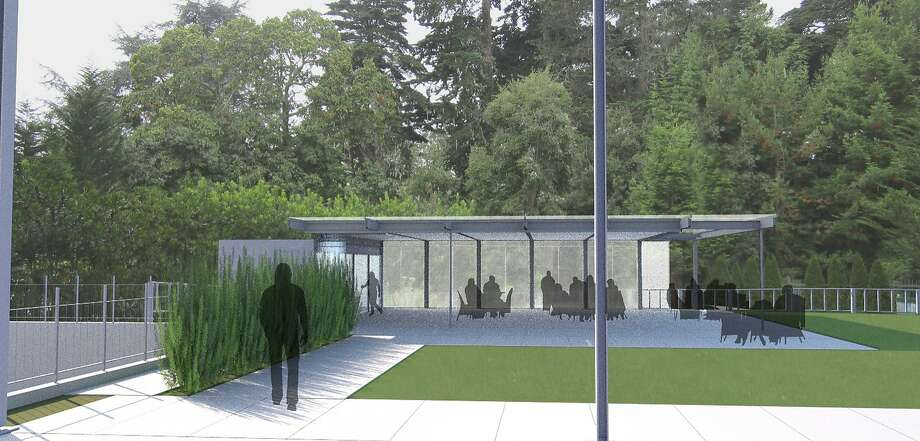 The 1,450-square-foot dining pavilion designed for the California Academy of Sciences by local architect Mark Cavagnero would be in the Academy's west courtyard. It is proposed to be one-third the height of the edge of the roof of the main building. Photo: Mark Cavagnero Associates