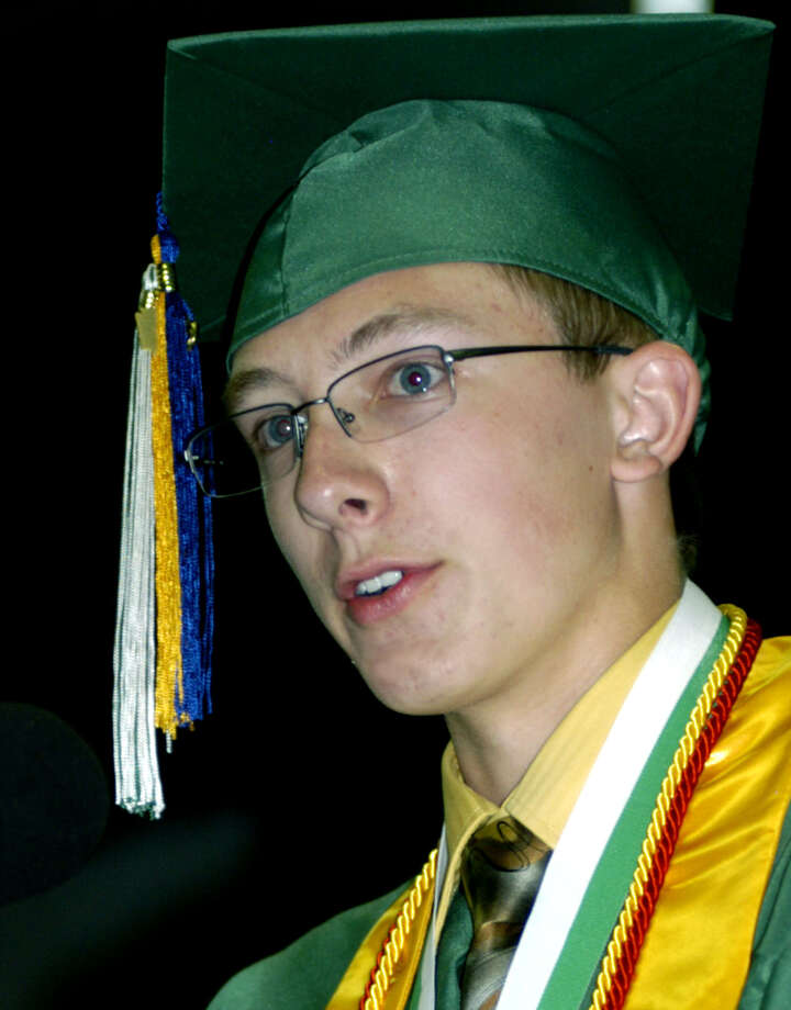 Salutatorian Quentin Leitz entertains while delivering a strong message in his address during New Milford High School's commencement exercises at the O'Neill Center on the campus of Western Connecticut State University in Danbury. June 22, 2013 Photo: Norm Cummings