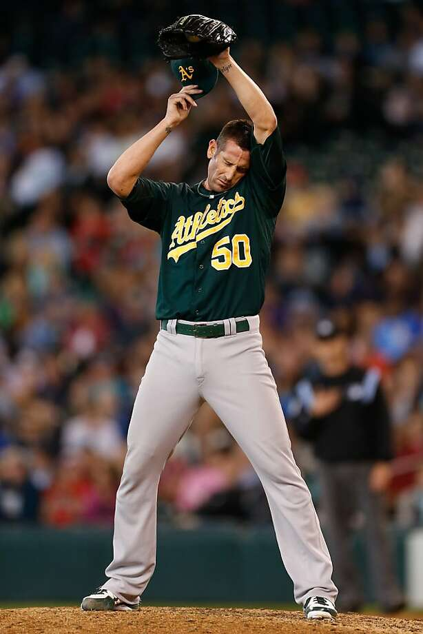 A's closer Grant Balfour, immediately before giving up Kendrys Morales' home run. Photo: Otto Greule Jr, Getty Images