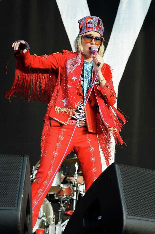 Karen Orzolek of the Yeah Yeah Yeahs performs onstage at the Firefly Music Festival at The Woodlands of Dover International Speedway on June 22, 2013 in Dover, Delaware. Photo: Theo Wargo, (Credit Too Long, See Caption) / 2013 Getty Images