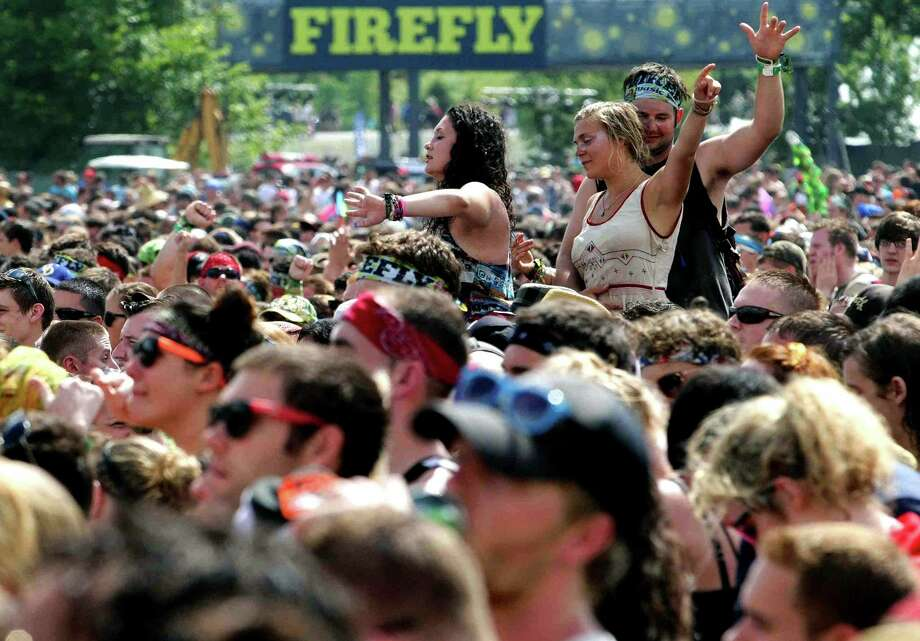 Fans cheer as Matt and Kim perform during the Firefly Music Festival on Sunday June 23, 2013, in Dover, Del.  Photo: Suchat Pederson, Associated Press / The News Journal