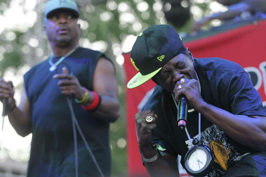 Flavor Flav, right, and Chuck D of Public Enemy perform on The Backyard stage on day one of the Firefly Music Festival Friday June 21, 2013, in Dover, Del. Photo: Suchat Pederson, Associated Press / The Wilmington News-Journal