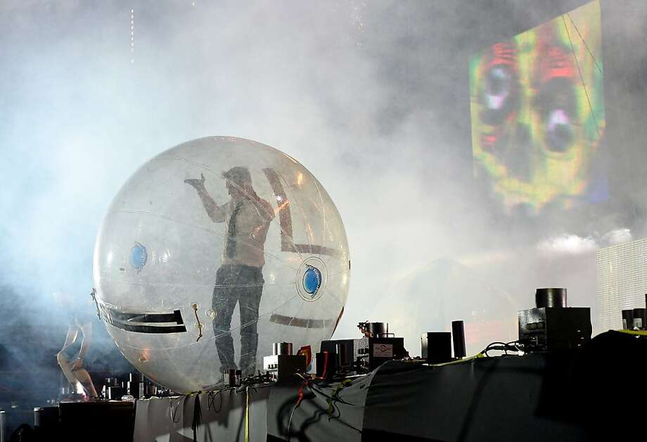 LAS VEGAS, NV - JUNE 23:  DJ/producer Diplo of Major Lazer prepares to surf the crowd in a ball as he performs at the 17th annual Electric Daisy Carnival at Las Vegas Motor Speedway on June 23, 2013 in Las Vegas, Nevada.  (Photo by Ethan Miller/Getty Images) Photo: Ethan Miller, Getty Images