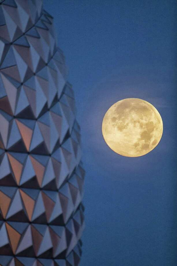 "In this handout photo provided by Disney Parks, the ""supermoon"" is seen with the Epcot center geodesic sphere in the foreground on June 23, 2013 at Walt Disney World Resort in Lake Buena Vista, Florida. This ""supermoon"" is the closest and largest full moon for all of 2013.  Photo: Handout, Getty Images / 2013 Disney Parks"