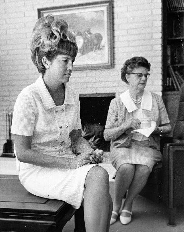 Barbara Cernan and her mother, Mrs. Jackie Atchley, follow the Gemini IX mission of her husband, Eugene Cernan, and astronaut Thomas Stafford on television in June 1966. (Houston Chronicle files)