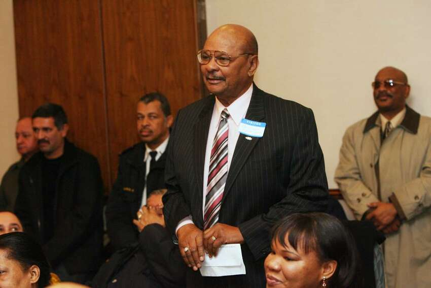 Pablo De Jesus Colon, President and CEO of Radio Cumbre, announces during a Bridgeport City Hall roundtable meeting on Friday, Jan 15, 2010, that he will promote fundraising effort on Sunday from 9-6 at 1057 East Main St. to benefit victims of Haiti's earthquake.
