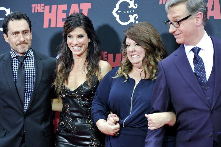 "Actors Demián Bichir, left, Sandra Bullock, Melissa McCarthey and director Paul Feig attend ""The Heat"" premiere at the Ziegfeld Theatre on Sunday, June 23, 2013 in New York. Photo: Evan Agostini, Evan Agostini/Invision/AP / Invision"